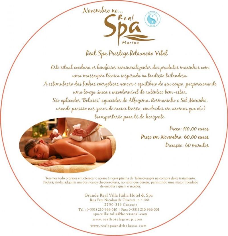 Novembro no Real Spa Marine - Real Spa Prestige Relaxação Vital