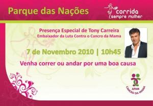 Corrida sempre mulher - Tony Carreira Embaixador da Luta Contra o Cancro da Mama 2010
